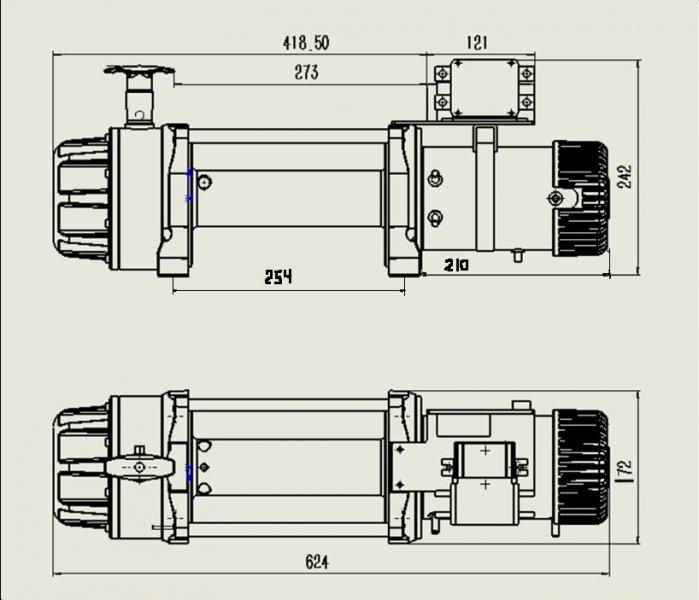 Схема размеров Лебёдка GP B