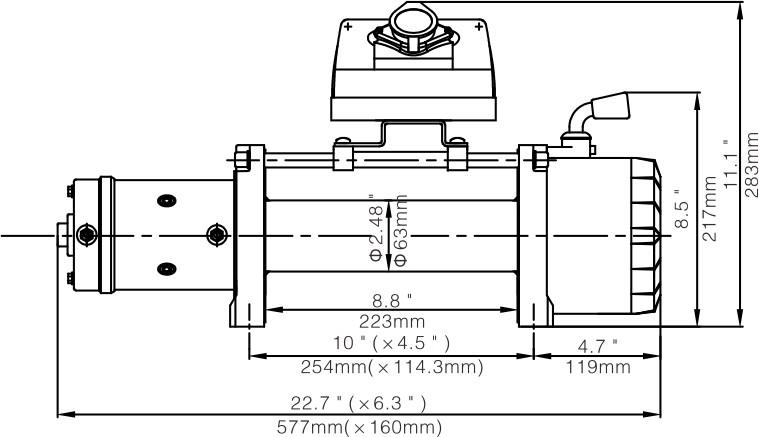 Схема размеров лебёдки Рунва Q-9500 Evo