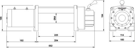 Размеры лебёдки MW 9500